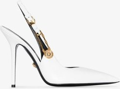 white 105  safety pin leather slingback pumps