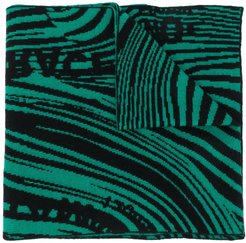 knitted patterned scarf - Green