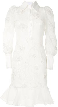 embroidered beaded shirt dress - White