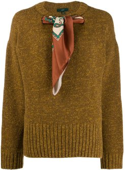 scarf neck sweater - Brown