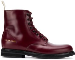 lace up combat boots - Red