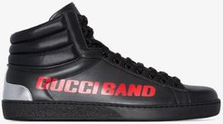 black Ace Gucci Band leather high top sneakers