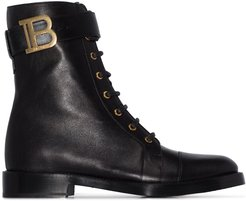 Ranger lace-up leather ankle boots - Black