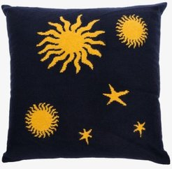 Navy and yellow Astronomy cashmere knit pillow