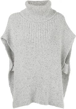 roll neck knitted poncho - Grey