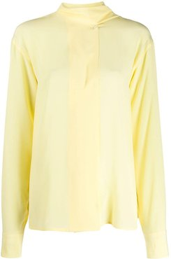 scarf neck blouse - Yellow