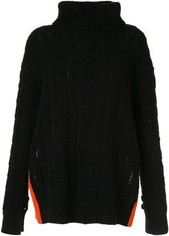 cable-knit roll neck jumper - Black