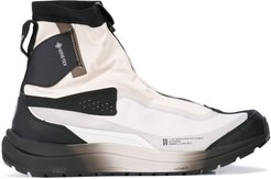 colour blocked high top sneakers - White