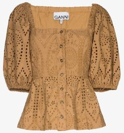 pouf sleeve broderie anglaise blouse