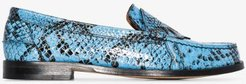 Blue patent snake print leather loafers