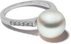 18kt white gold Classic Freshwater pearl and diamond ring - 7