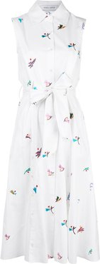 embroidered belted shirt dress - White