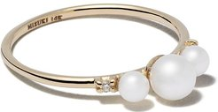 cultured pearl and diamond embellished ring - Gold