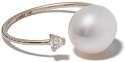 14kt yellow gold pearl and diamond open ring