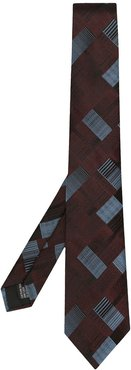 geometric patterned tie - Red