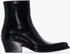 X Buttero black leather cowboy ankle boots