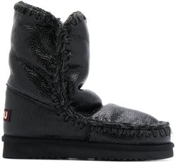stitch detail snow boots - Black