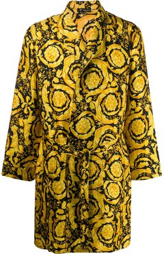 Barocco print dressing gown - Yellow