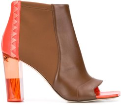 100mm open-toe boots - Brown