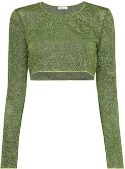 Lumiere Lurex cropped top - Green