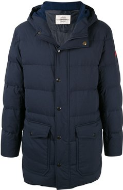 logo patch hooded padded coat - Blue