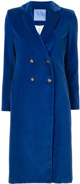 double-breasted midi coat - Blue