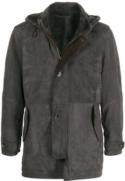 hooded leather coat - Grey