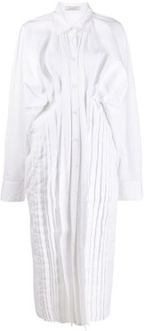 ruched side shirt dress - White