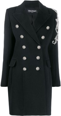 bead-embellished double-breasted coat - Black