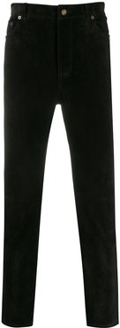slim-fit velvet trousers - Black