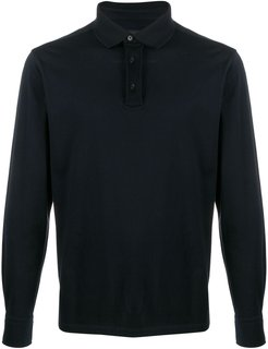 fine knit polo jumper - Blue