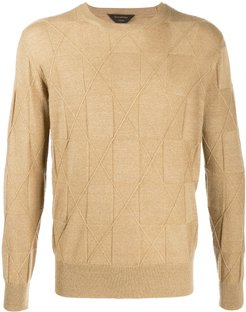 crew neck knitted jumper - Yellow