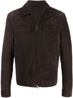 zipped-up leather jacket - Brown