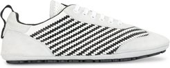 striped woven low-top sneakers - White