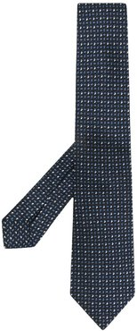 pin-dots embroidered silk tie - Blue