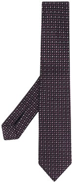 pin-dots embroidered silk tie - Black