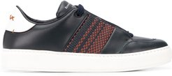 woven panel low-top sneakers - Blue