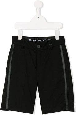 side-stripe tailored shorts - Black