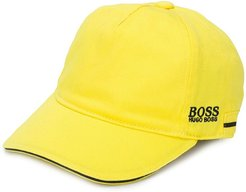 embroidered logo cotton cap - Yellow