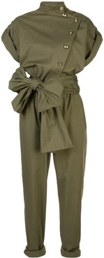 bow detail jumpsuit - Green