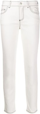 low rise cropped jeans - White