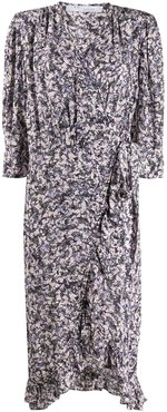 Trafal floral wrap dress - White