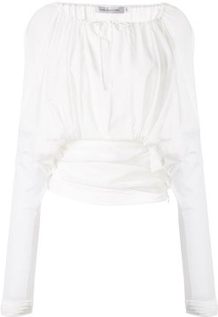 sheer ruched blouse - White