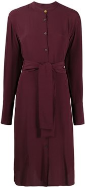 belted midi shirt dress - Red