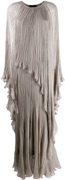 crinkled cape-effect gown - Grey