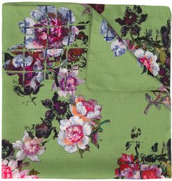 floral embroidered neck-tie scarf - Green