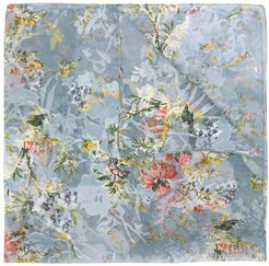 floral embroidered neck-tie scarf - Blue