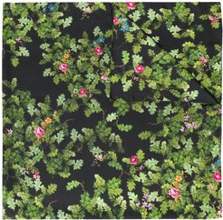 floral embroidered scarf - Black
