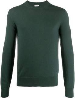 fine knit crew neck sweater - Green