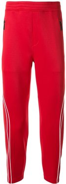 contrast piping track pants - Red